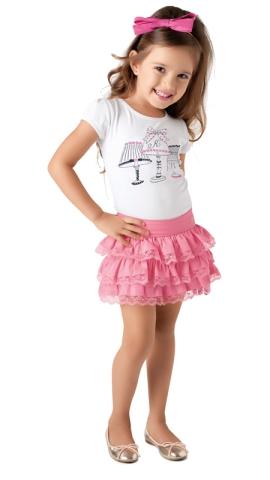conjunto infantil feminino saia e blus